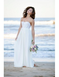 Lace Embroidered White Chiffon Floor Length Beach Wedding Dress