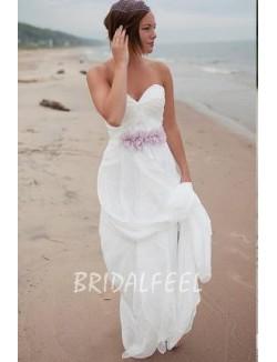 Strapless Sweetheart Pleated Chiffon Beach Wedding Dress