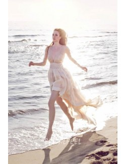 V Neck Long Sleeved Champagne Colored Chiffon Informal Beach Wedding Dress