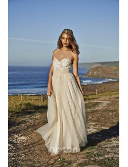 Lace Embroidered Champagne Tulle Strapless Beach Wedding Dress