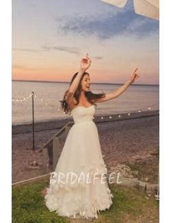 Petals Strapless Sweetheart Floor Length Beach Wedding Dress