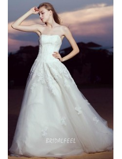 Strapless Lace Bodice Tulle Classic A Line Fall Wedding Dress