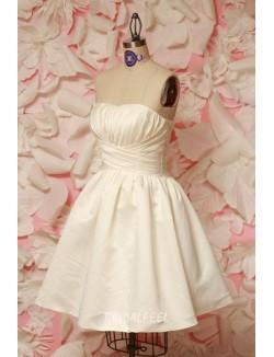 Short Ivory Strapless A Line Mini Wedding Dress