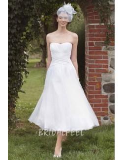 Tea Length Strapless A Line Summer Destination Wedding Dress