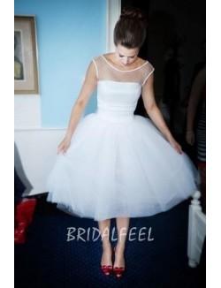 Corset Tea Length Illusion Boat Neck Spring Wedding Dress