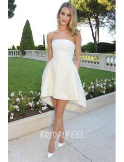 Strapless Hi Lo Short Organza Informal Short Wedding Dress