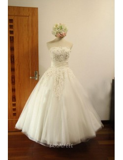 Vintage Lace Embroidered Tea Length Wedding Dress