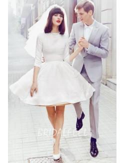 Crew Neck Quarter Sleeve Short Informal Wedding Dress