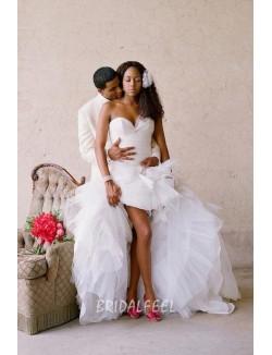 Strapless Sweetheart High Low Organza Informal Wedding Dress