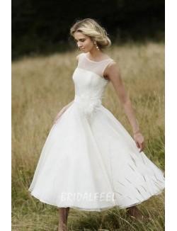 Sleeveless Illusion Neck Tea Length Organza A Line Destination Wedding Dress