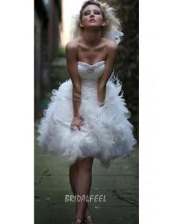 Beaded Strapless Sweetheart Short Ruffled Wedding Dress