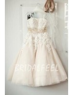 Champagne Colored Floral Lace Tea Length Wedding Dress