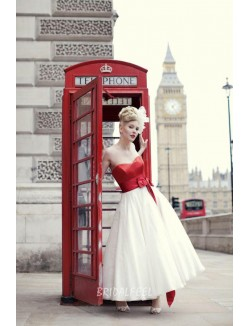 Red And White Two Tone Strapless Sweetheart Tea Leagth Wedding Dress