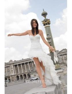 Strapless Sweetheart High Low Spring Organza Wedding Dress