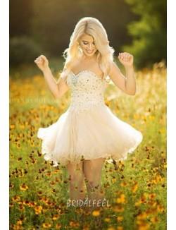 Beaded Strapless Sweetheart Short Tulle Wedding Dress